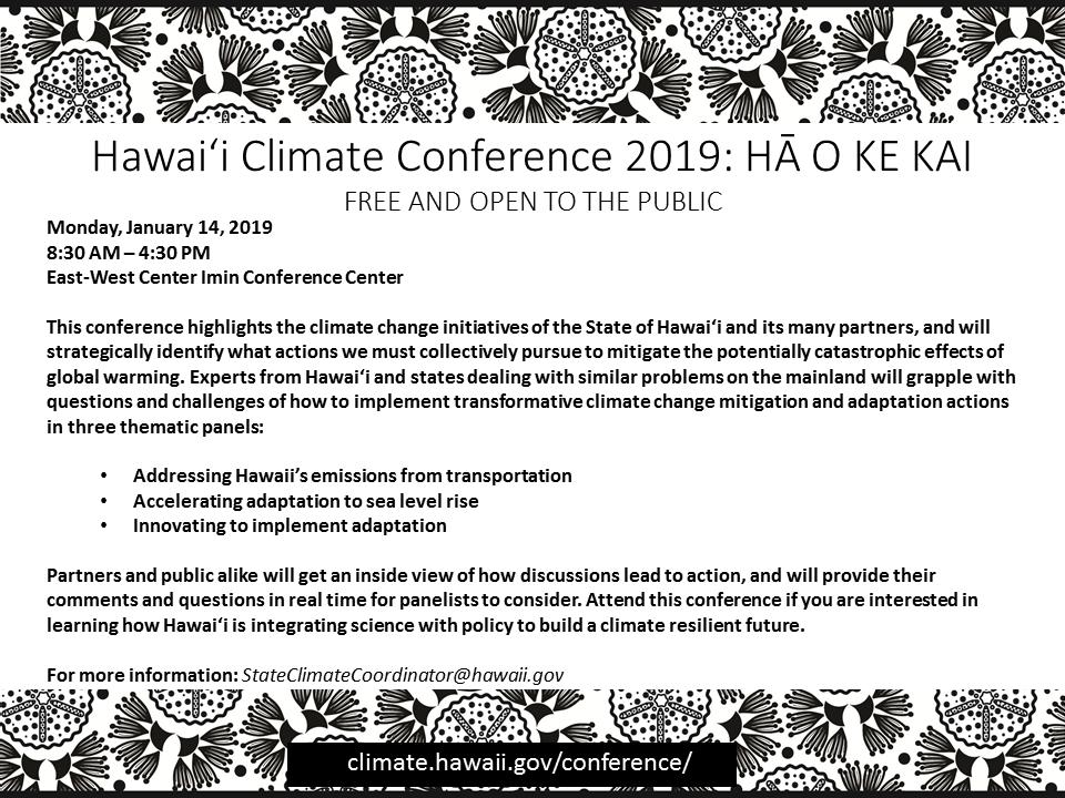 first image of Na Hawaii Regional Convention 2019 with Hawai'i State Climate Conference 2019: Hā o ke kai (Breath ...