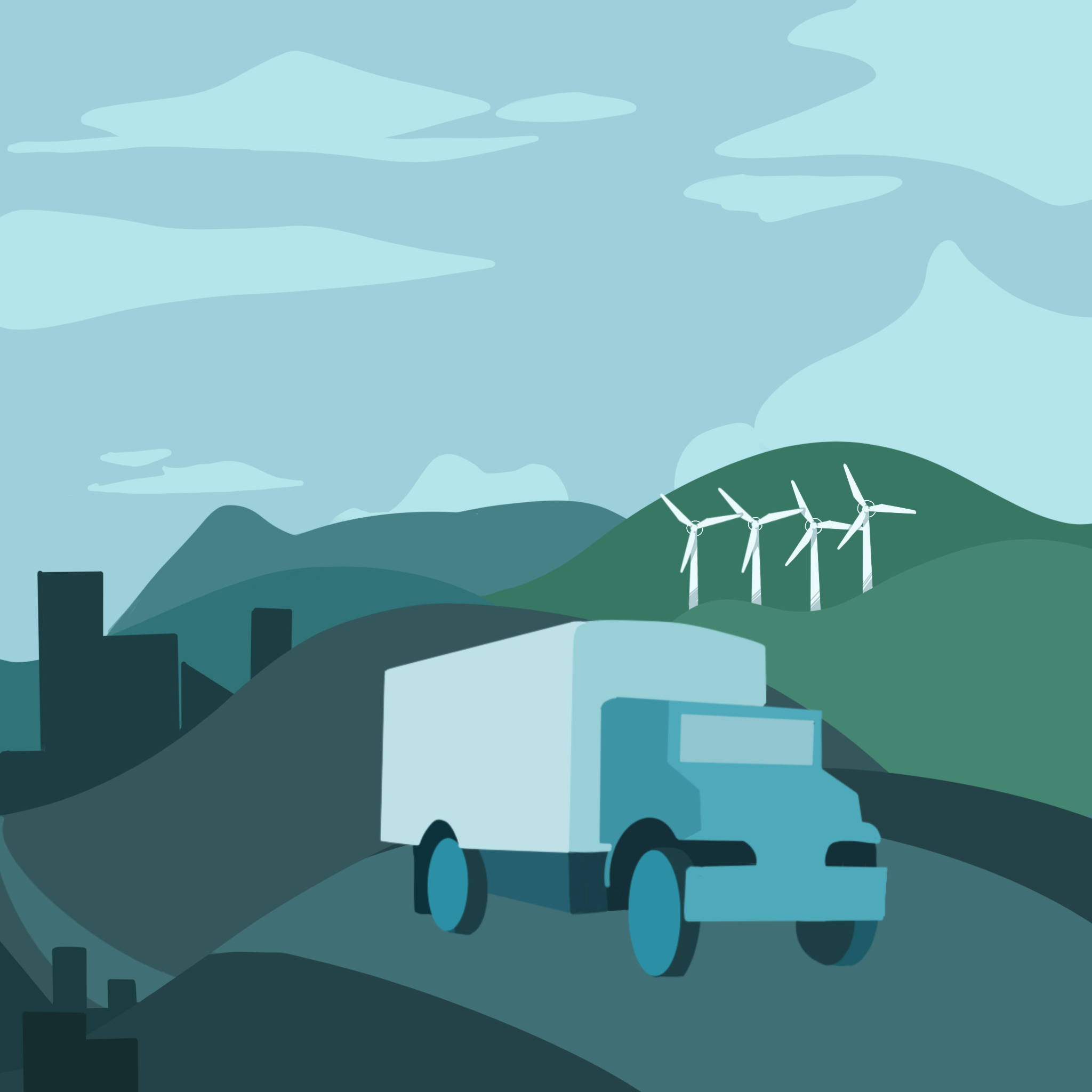 Button for State Climate Change's Mitigation Strategies. Graphic is an illustration of a fleet truck with wind turbines on the background.