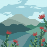 Button for the State Climate Commission's Sequestration. Graphic is an illustration of ohia with mountains in the background.