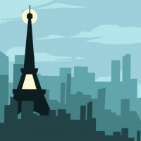 Button for the State Climate Commission's Goals & Progress. Graphic is an illustration of the Eiffel Tower.
