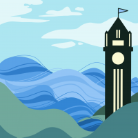 Button for State Climate Commission's Mitigation Reports. Graphic is an illustration of Big Ben with waves in the background.